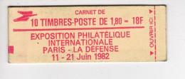 Carnet PHILEXFRANCE 82 Non Ouvert De 10 Timbres Nº 2220-C2 CONF: 7 - 1,80 F Rouge Type Liberté De Delacroix - Standaardgebruik