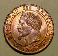 PIECE DE 1 CENTIME NAPOLEON III - 1862 K UNC - A. 1 Centime