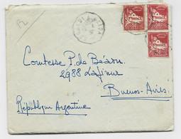 ALGERIE 50CX3 LETTRE CONVOYEUR  BOGHARI A BLIDA 14.4.36 POUR ARGENTINE - Railway Post