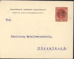 Autriche Entier Timbré Sur Commande Ingénieur Robert Goldmann Style YT 162 Charles I CAD Wien 1917 Guerre 14 18 - Entiers Postaux