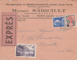 AFFRANCHISSEMENT COMPOSE SUR LETTRE A EN TETE EXPRESS DE MONTARGIS LOIRET - 1921-1960: Modern Period