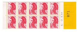 Carnet De 10 Timbres Nº 2427-C2 - 2,20 F Rouge Type Liberté De Delacroix RESERVEZ VOS TIMBRES DE COLLECTION Daté - Definitives