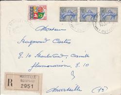 AFFRANCHISSEMENT COMPOSE SUR LETTRE RECOMMANDEE DE MARSEILLE 1962 - 1961-....