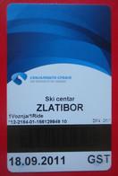 X2- Ticket, Card, Ski Pass, Skipass, Ski Resort, Ski Center Of Serbia, Zlatibor 2011. - Wintersport