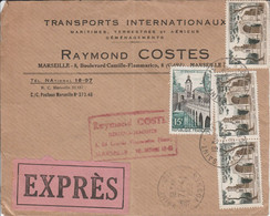 AFFRANCHISSEMENT COMPOSE SUR LETTRE EXPRES DE MARSEILLE 1959 - 1921-1960: Modern Period