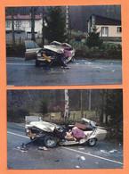 LOT DE 2 PHOTOS ORIGINALES 27 DÉCEMBRE 1986 LES CABANNES  - ACCIDENT DE VOITURE FORD (?) AUTRES - Automobiles