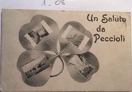 Cpa écrite En 1915, Multivues, Trèfle, Un Saluto Da Peccioli, éd P.Gelici, 5686, Pise- ITALIE (multivista, Trifoglio,) - Altre Città