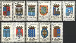 España, 1965, Escudos De Las Capitales De Provincias Españolas (Grupo IV), 11 Valores De 5 P., MNH** - 1961-70 Ungebraucht