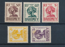 DAHOMEY - TAXE N° 24/28 NEUFS* AVEC GOMME ALTEREE - COTE YT : 8€10 - 1941 - Ongebruikt