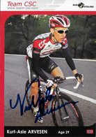 CARTE DU CYCLISME KURT ASLE ARVESEN SIGNEE TEAM CSC  2004 - Cycling
