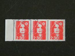 FRANCE YT 2614 OBLITERE - MARIANNE BRIAT DU BICENTENAIRE BANDE HORIZONTALE 3 TIMBRES BORD DE FEUILLE - 1989-96 Bicentenial Marianne