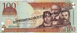 "Dominican Republic 100 Pesos 2004 SPECIMEN UNC P-171s4 ""free Shipping Via Registered Air Mail"" - Dominicana"