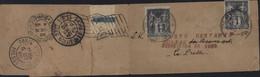 Bande Journal YT 83 Sage CAD Paris Exposition Beaux Arts Presse + Flamme Drapeau Exposition Universelle Poste Restante - 1877-1920: Periodo Semi Moderno