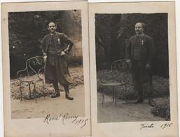 2 Cartes Photo Zouaves Identifiés Décorés 1915 1916 - 1914-18