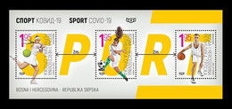 Bosnia And Herzegovina (Serbian) 2020 Mih. 835/37 (Bl.44) COVID-19 Stops Sports. Tennis. Football. Basketball MNH ** - Bosnia Erzegovina
