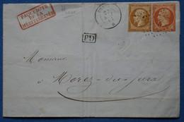 Z16 FRANCE BELLE LETTRE 1861   PHASE PAR PAQUEBOT  POUR MOREZ  +PD  AFFRANCH. INTERESSANT - 1853-1860 Napoléon III.
