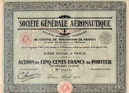 SOCIETE GENERALE AERONAUTIQUE - ACTION DE CINQ CENTS FRANCS - ANNEE 1930 - Aviazione