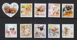 JAPAN 2015 FAMILIAR ANIMALS SERIES 1 DOG PUPPIES 82 YEN COMP. SET 10 STAMPS USED (**) - Used Stamps