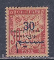 Maroc Taxe N° 21 X Partie De Série, 30 C Sur 30 C. Rouge-carmin Trace De  Charnière Sinon TB - Impuestos