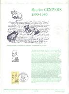 Document Officiel Fdc 1990 Decize Genevoix - 1990-1999