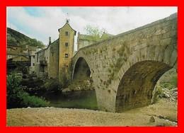 CPSM/gf (48)  LE PONT-de-MONTVERT.  Le Grand Pont Et L'Horloge...M224 - Le Pont De Montvert