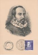 ESPAGNE CARTE MAXIMUM DES LABORATOIRES MARINOL 1954 JUAN RUIZ DE ALARCON Y MENDOZA - Cartes Maximum
