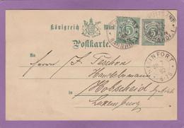 GANZSACHE MIT ZUSATZFRANKATUR VON STUTTGART BAHNHOF NACH LUXEMBURG, ANKUNFTSTEMPEL 1892. - Wurtemberg