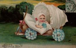 Illustrée Gaufrée  : Charrette Avec Un Bébé , Dentelles Et Myosotis 2 - Babies
