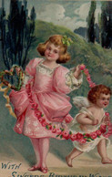 Illustrée GAUFREE : Petite Fille En Rose Et Ange Aux Roses - Angels