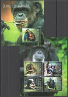 ST2844 2013 NIGER WILD ANIMALS CHIMPANZEE LES CHIMPANZES 1KB+1BL MNH - Chimpanzees