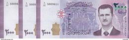 SYRIA 2000 LIRA 2015 P-117 SERIES #1 LOT X3 Uncirculated NOTES */* - Syria