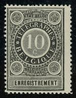 Belgium 1897 10c Telegraph Stamp MNH ** Full Orig. Gum, Vertical Gum Bend Otherwise Fault-free, COB RT1, Cat. €140 - Telegraafzegels