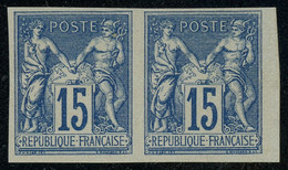 French Colonies General Issues 1878-80 Sage 15c Blue PAIR MNH ** Full Orig. Gum, Perfect Quality, Yv. 41, Cat. €80+++ - Sage