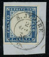 Sardinia 1860 20c Blue Used On Piece With Superb S. JEOIRE (SAVOIE) Postmark, Perfect Quality And Great Aspect - Sardinia