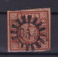 Ziffer 6 Kr. Mit Mühlradstempel 354 (= Nördlingen) - Bavaria