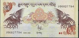 BHUTAN  UNC  5 NGULTRUM  2006  PREFIX J - Bhutan