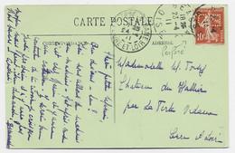 FRANCE SEMEUSE 10C PERFORE ED CARTE BEAUVAIS OISE 1911 - Gezähnt (Perforiert/Gezähnt)