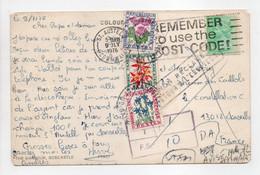 - Carte Postale ST. AUSTELL (Angleterre) Pour MARSEILLE 9.7.1976 - TAXÉE 1 F. + 40 C. + 10 C. Type Fleurs Des Champs - - 1960-.... Lettres & Documents