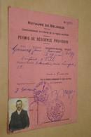Guerre 14-18 ,permis De Résidence Goossens Jean 8 Octobre 1914 , Ostende , Avec Photo - 1914-18