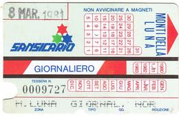 SKIPASS ABBONAMENTO GIORNALIERO SANSICARIO MONTI DELLA LUNA 1981 - Toegangskaarten