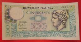 X1- 500 Lire 1976. Italy, Italie- Five Hundred Liras ,Circulated Banknote - 500 Liras