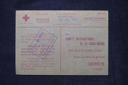 FRANCE - Carte Croix Rouge De Tulle Pour La Croix Rouge De Genève En 1940 - L 104529 - Guerre De 1939-45