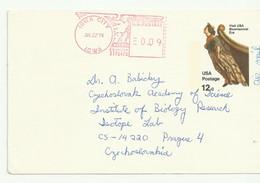 USA. Small Card From Iowa To Czechoslovakia 1976. Meter Mark/freistempel. - Storia Postale