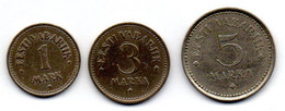 ESTONIA, Set Of Three Coins 1, 3, 5 Marka, Copper-Nickel, Year 1922, KM #1, 2, 3 - Estonia