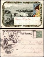 Ansichtskarte Litho AK Königswinter 2 Bild Bei Mondschein - Jugenstil 1901 - Koenigswinter