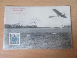 """France - Vignette Nantes Aviation Août 1910 Sur CP """"Départ De Crochon Sur Biplan"""" - Aviation"""