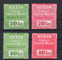 1930s  ROMANIA, SHIP MAIL, DDSG, DANUBE SHIPPING COMPANY STAMPS,20 AND 40 BANI, 4 STAMPS - Fiscali