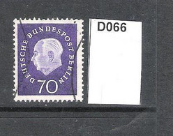 West Berlin 1959 President Heuss 70pf - Used Stamps