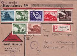 ALLEMAGNE 1944 LETTRE RECOMMANDEE EN CONTRE REMBOURSEMENT DE HAMBURG AVEC CACHET ARRIVEE BERLIN - Storia Postale