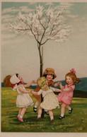 Illustrée : Petites Filles Faisant La Ronde Autour D'un Arbre En Fleurs - Groupes D'enfants & Familles